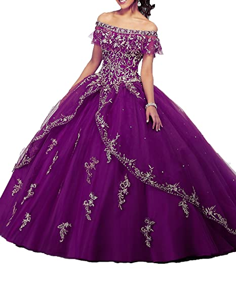 d51a87a47b Dengfeng Women s Bateau Beaded Sweet 15 Party Prom Quinceanera Dresses at Amazon  Women s Clothing store