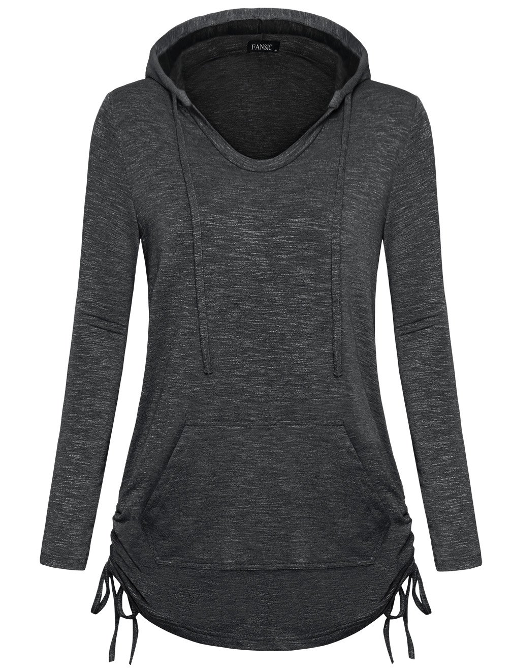 Women Hoodie Sweatshirt,FANSIC Women's Boutique Clothes Business Casual Tops for Women Pullover Sweatshirt Hoodie with Kangaroo Pocket Small Gray