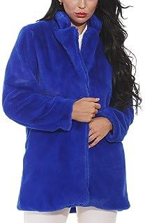 59218470407d Sisttke Women Faux Fur Coat Jacket Outwear Long Sleeve Fur Jacket with  Pockets