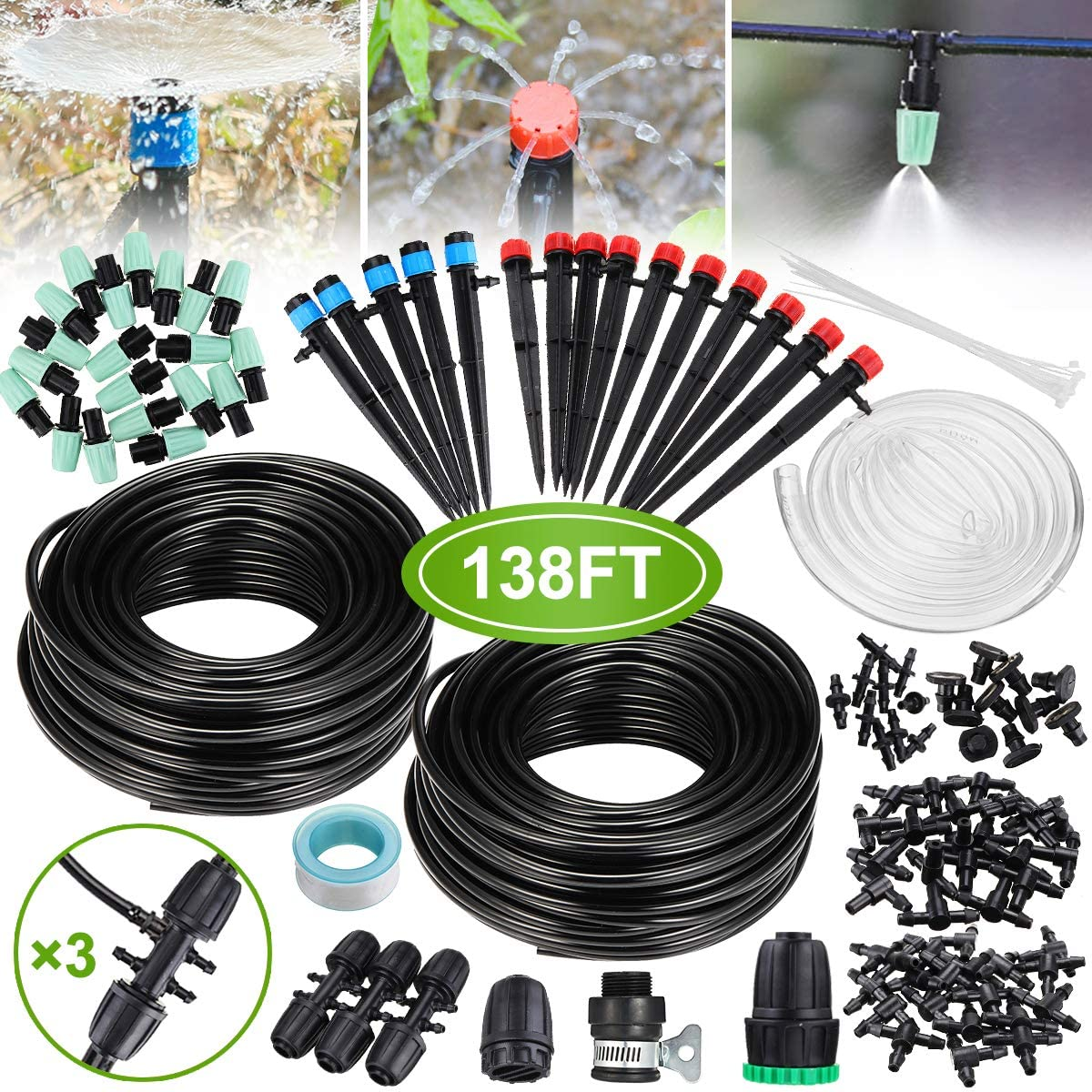 Micro Drip Irrigation Kit,king do way 42m/138ft Garden Irrigation System with Adjustable Nozzle Sprinkler Sprayer&Dripper Automatic Patio Plant Watering Kit Misting Cooling System for Greenhouse,Lawn