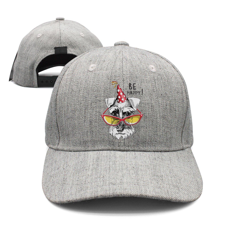 Cute Schnauzer in A Party Cap and Glasses Woolen Peak Cap Snapback Hat Sports Caps Grey