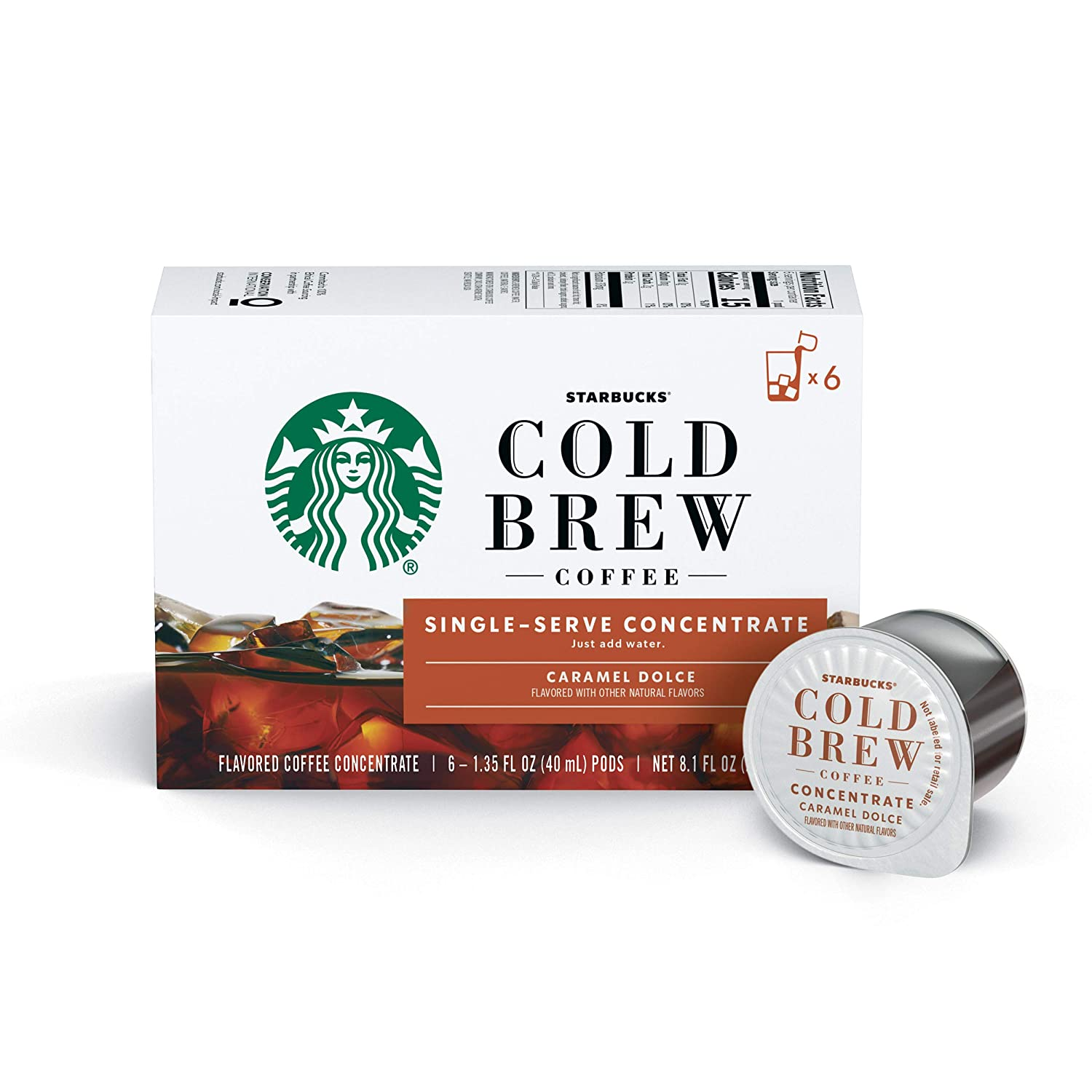 Starbucks Cold Brew Coffee Caramel Dolce Flavored Single-Serve Concentrate Pods 6 boxes (36 capsules total), Coffee Concentrate