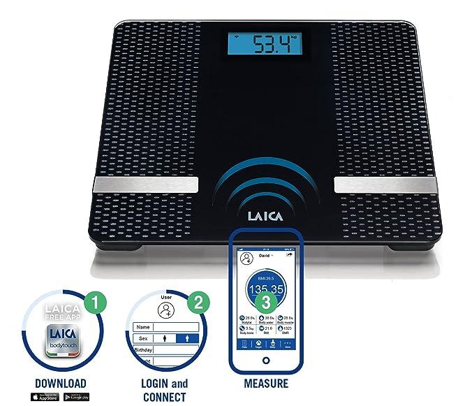 Laica PS7002 - Báscula composición corporal con conexión Bluetooth 180 kg, (Negro, Plaza, AAA, Vidrio): Amazon.es: Salud y cuidado personal