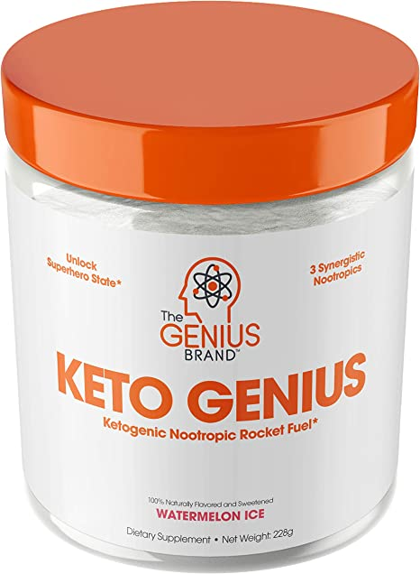 Keto Genius (BHB Exogenous Ketones + Nootropics) – Ketogenic Energy & Focus Supplement - Perfect Nootropic Brain Fuel to Spark Ketosis & Boost Clarity – Pure Ketone Drink Powder w/ Alpha GPC –15sv