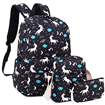 a2b9c11f1e34 Amazon.com  School Backpack Girls Cute Bookbag fit 15inch Laptop SchoolBag  for Teens Boys Kids Travel Daypack(Unicorn-Black)  UPSTORE