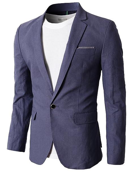 Mens Slim Fit 1 Button Light Grey Striped Blazer Smart Casual Office Party Wear