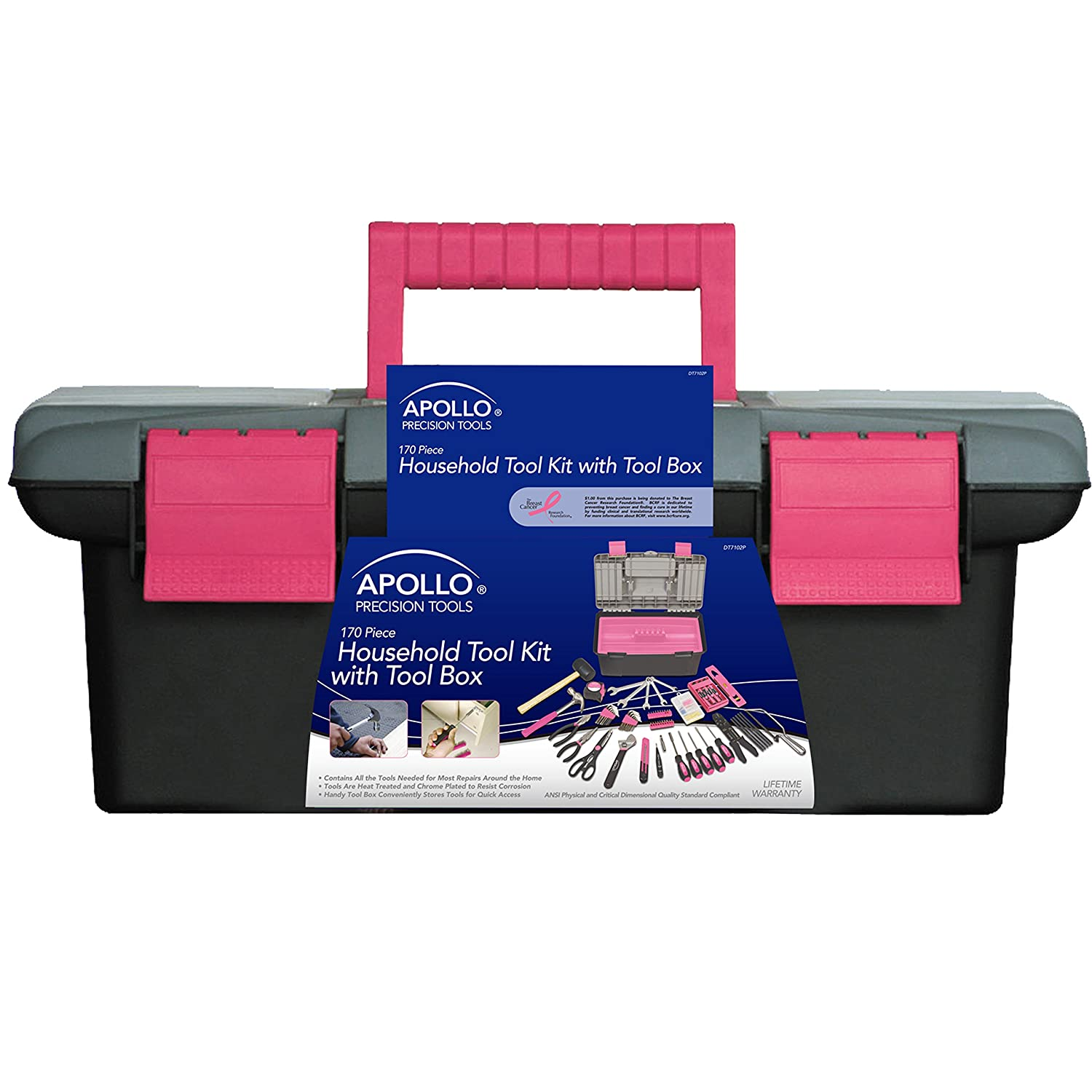 Apollo Precision Tools DT7102P Household Tool Kit with Tool Box Pink 170 Piece