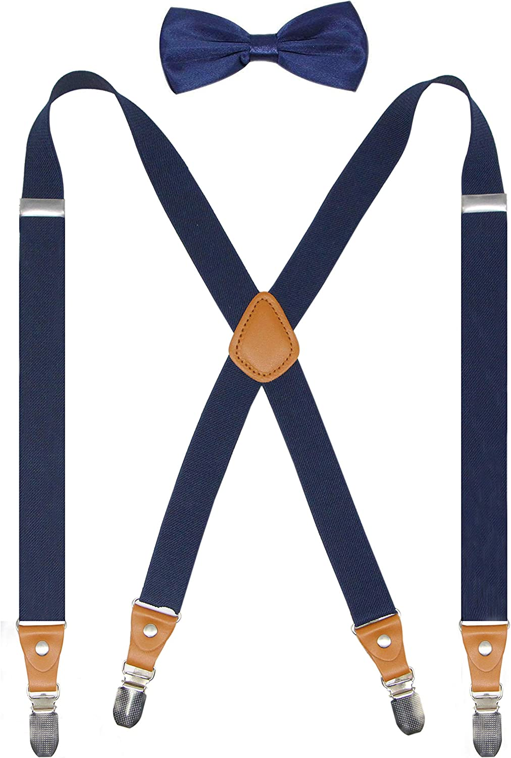 """Formal Events Cedrainy Mens Suspenders 4 Clips/& Bow tie Set X back Elastic 1/"""" Wide Braces For Wedding"""