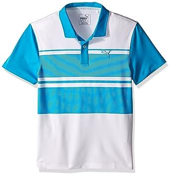 Puma Golf Boys' Pattern Block Polo JR (Big Kids), Atomic Blue,