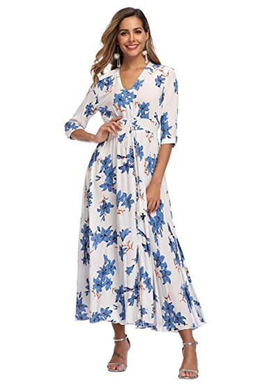 661067751a922 VintageClothing Women's Floral Maxi Dresses with Sleeves Flowy Boho Beach  Dress