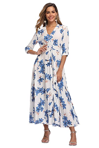great variety models best service various kinds of VintageClothing Women's Floral Maxi Dresses with Sleeves Flowy Boho Beach  Dress