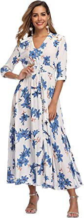 VintageClothing Women's Half Sleeve Boho Maxi Dresses Floral Print Split Beach Party Dress