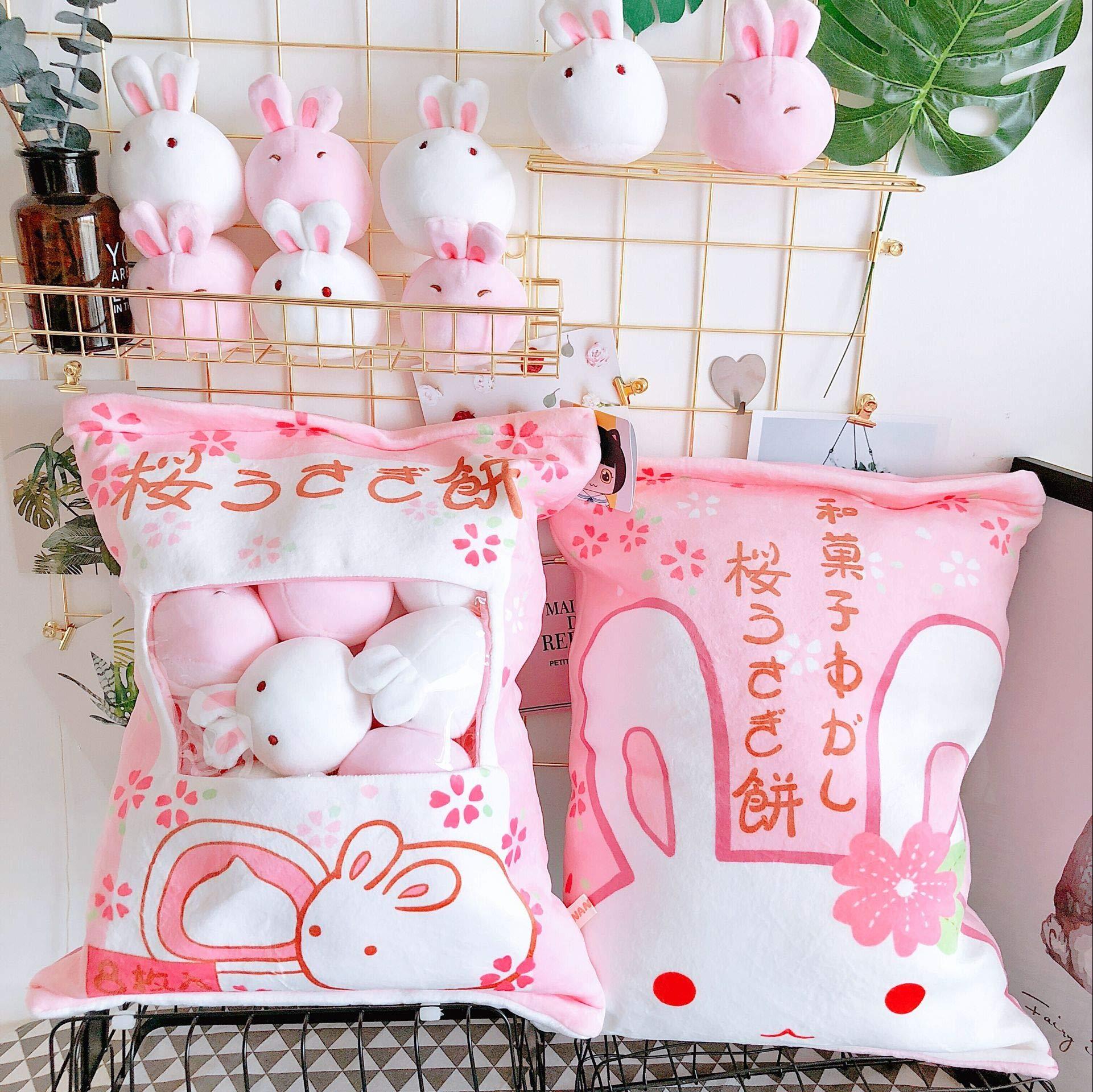 Nenalayo Cute Throw Pillow Stuffed Animal Toys Removable Fluffy Bunnies Creative Gifts for Teens Girls Kids by Nenalayo (Image #5)