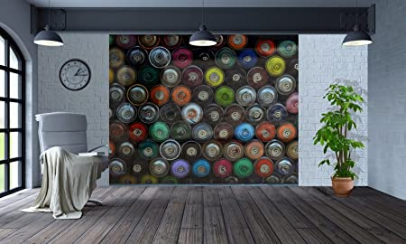 cool funky stacked spray paint cans wallpaper wall mural 2xl
