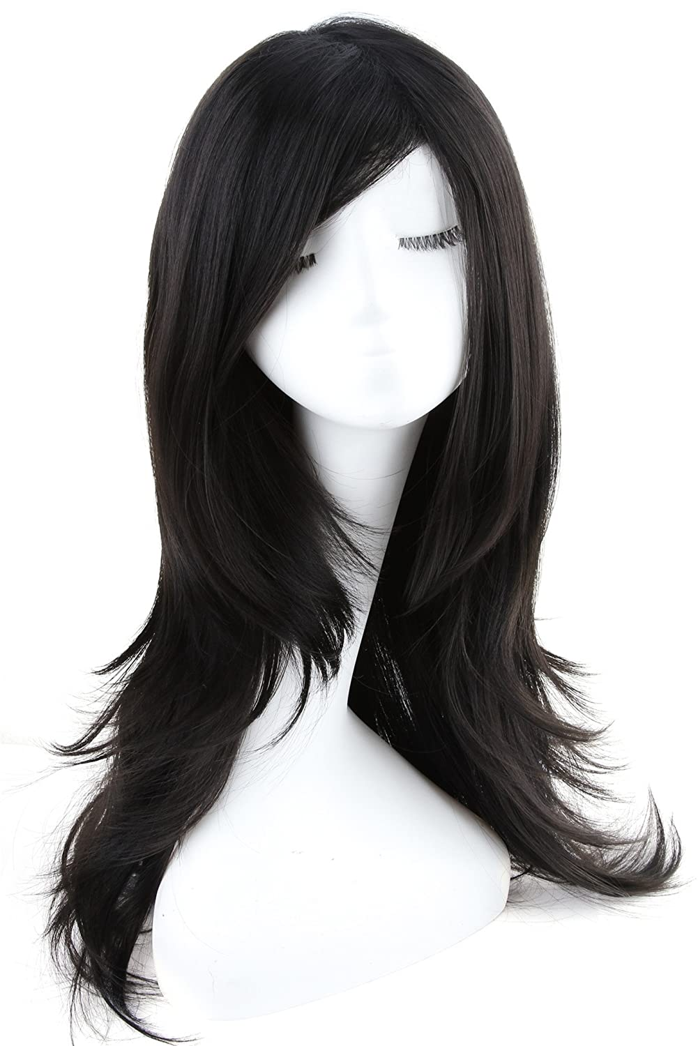 ATOZWIG Long Black Cosplay Wigs Straight With Side Bang Anime Wigs Synthetic Hair For Sweet Girls