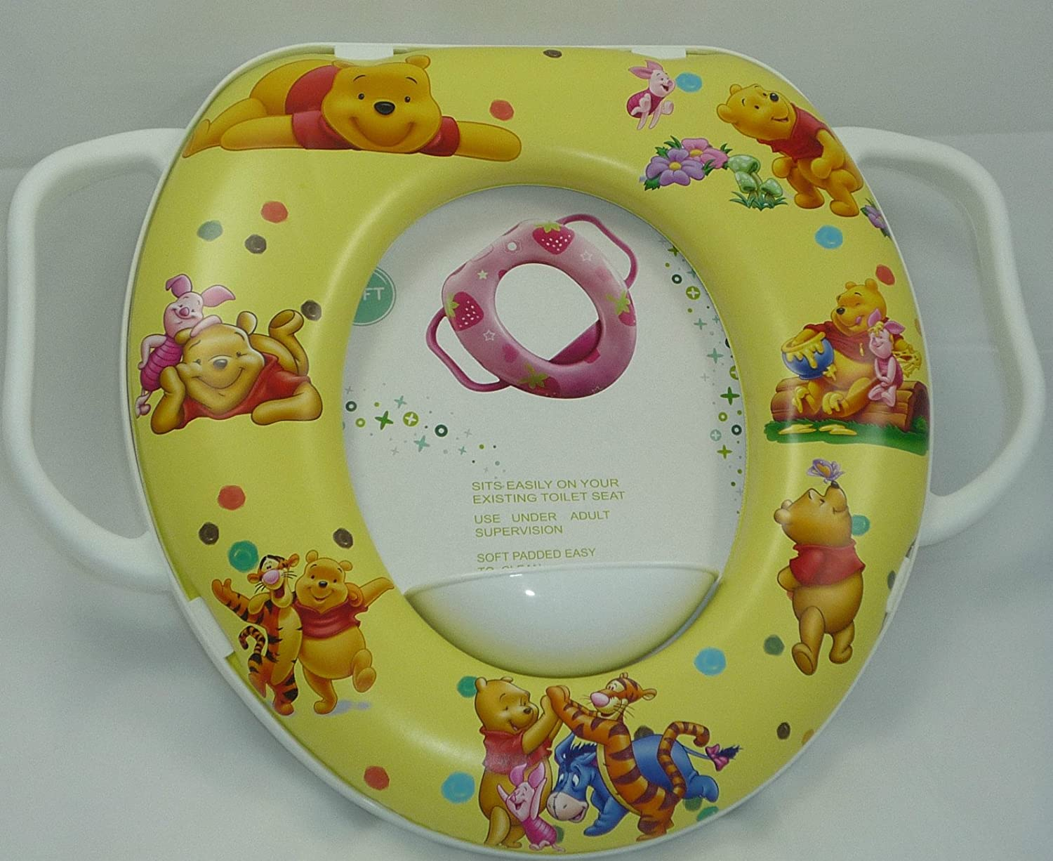 Baby Soft Padded Potty Training Toilet Seat With Handles Suitable for standard oval toilet seats with hole measure around 27cmX21Cm Winnie The Pooh /& Tigger.