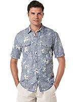Cubavera Men's Big-Tall Short Sleeve Reverse Printed Woven Shirt