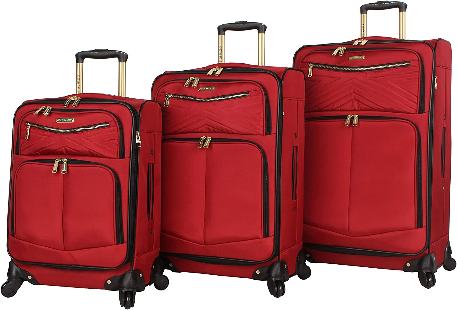 Steve Madden Designer Luggage Collection - 3 Piece Softside Expandable Lightweight Spinner Suitcase Set - Travel Set includes 20 Inch Carry on, 24 Inch & 28-Inch Checked Suitcases (Rockstar Red)