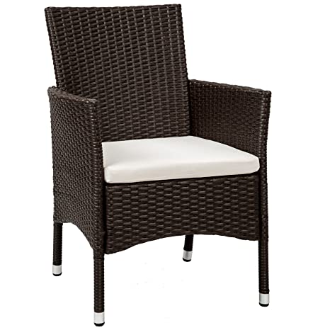TecTake 2 x Ratán sintético silla de jardín set con cojines + 2 Set de fundas intercambiables + tornillos de acero inoxidable - disponible en diferentes ...