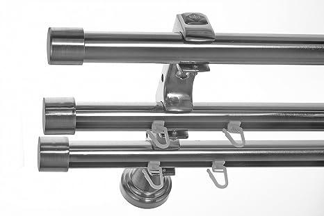 Rohr 2 X Innenlauf Edelstahl Look Gardinenstange 20mm Wandträger 3 Läufig Mit Kappe H60 E30e30 Ri 1x B20i Länge200 Cm