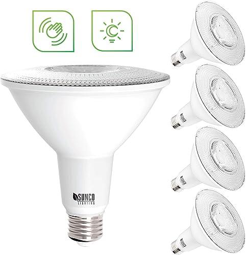 Sunco Lighting 4 Pack PAR38 LED Bulb, Dusk-to-Dawn Radar Motion, 13W 100W, 5000K Daylight, 1050 LM, Indoor Outdoor, Photocell Motion Sensor, Security Flood Light - UL