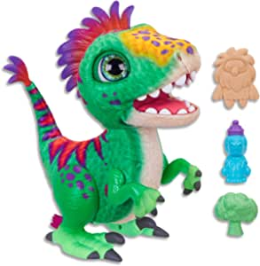 Hasbro E0387 FurReal- Munchin' Rex Dinosaur inc Treats- Plush Pets- Interactive and nuturing Toys for Kids, Girls, Boys- Ages 4+, Green, Red, Yellow, Height: 32 cm
