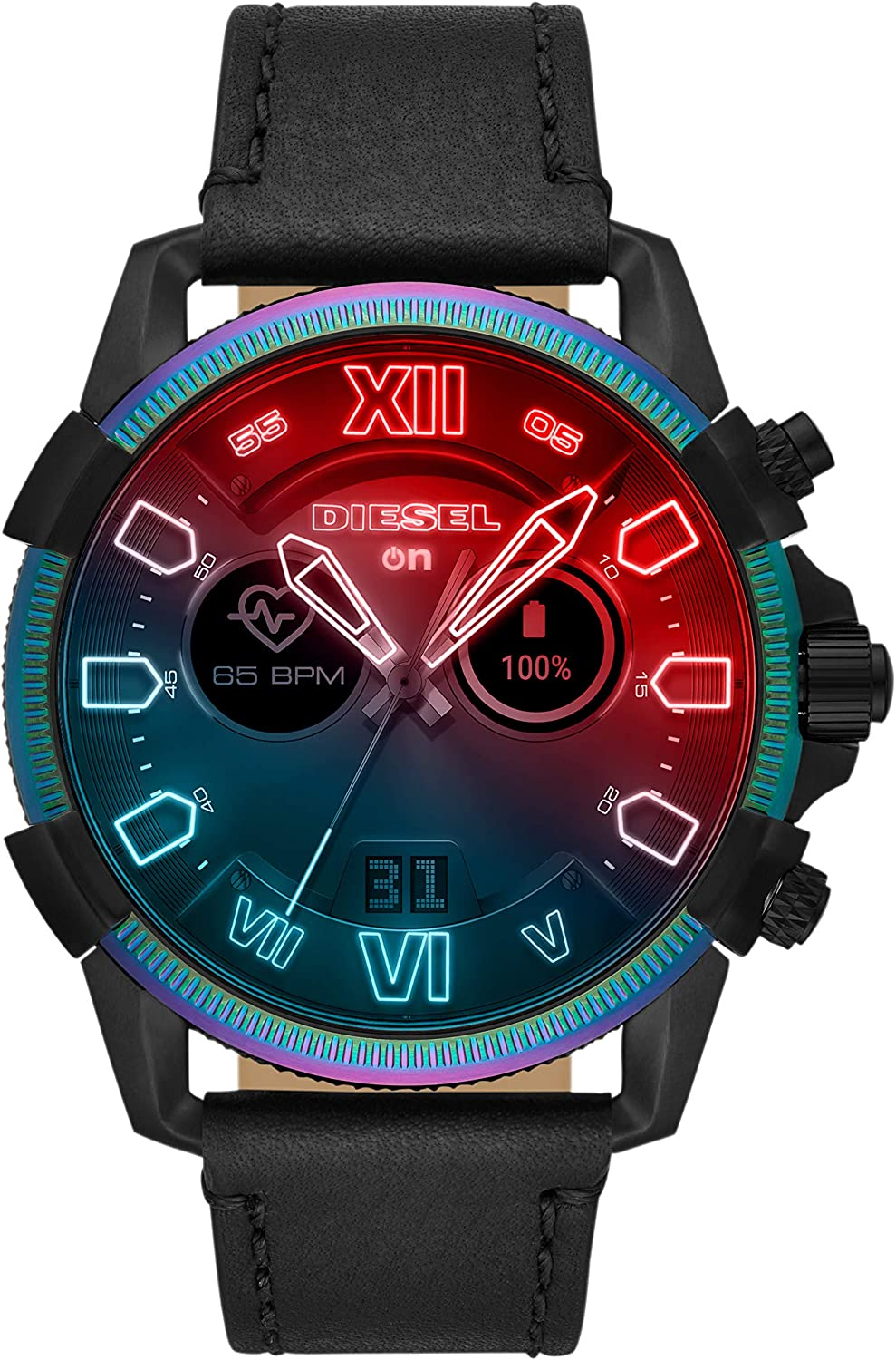 Diesel On Mens Full Guard 2.5 Touchscreen Stainless Steel and Leather Smartwatch, Black and Multicolor Iridescent crystal-DZT2013