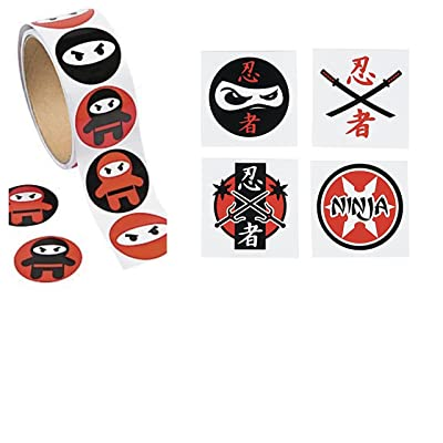 100 NINJA Warrior Stickers & 72 TATTOOS - PARTY Favors CLASSROOM Teacher Motivational Rewards MARTIAL ARTS