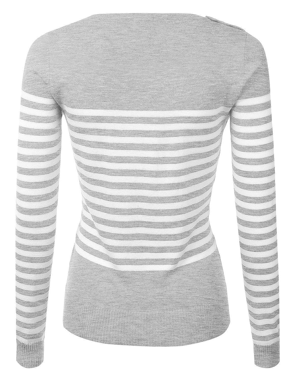 JJ Perfection Women's Versatile Long Sleeve Pullover Sweater w/ Button Design