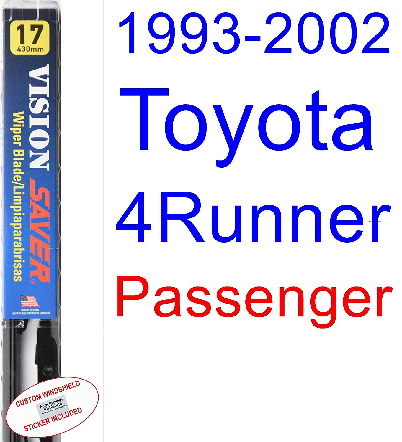 Amazon.com: 1993-2002 Toyota 4Runner Wiper Blade (Passenger) (Saver Automotive Products-Vision Saver) (1994,1995,1996,1997,1998,1999,2000,2001): Automotive