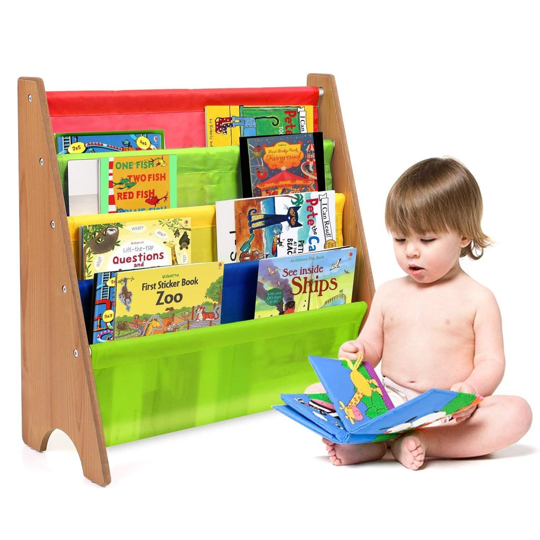 HOMFA Libreria Bambini Scaffale Porta Libri, 5 Ripiani Mensola in Legno e Tessuto Posteriore, Ecologico e Robusto 62 × 26.5 × 61CM (Marrone)