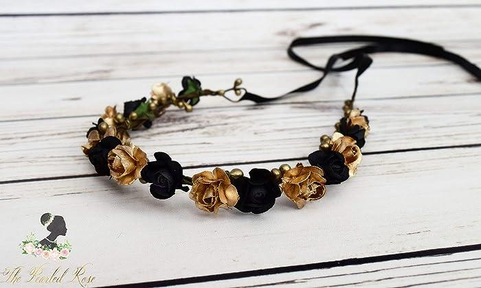 Black and Gold Flower Crown - Boho Flower Crown - Romantic Wedding - Black  Bridesmaids Hair - Flower Girl Halo - Small Flower Crown - Adult Rose  Headband 7ab3919e6f3