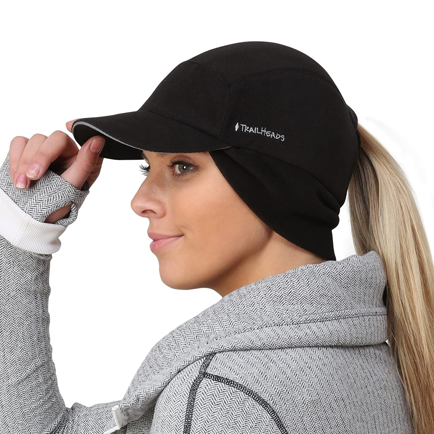 TrailHeads Fleece Ponytail Cap Drop Down Ear Warmer | The Trailblazer Adventure Hat Women Black One Size