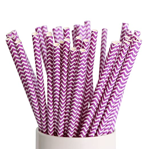 webake Pajitas de Papel 100 Pcs Paja de Papel Biodegradable Pajitas Desechables de Pajitas para Cumpleaños Bodas Celebraciones Fiestas - Raya Púrpura