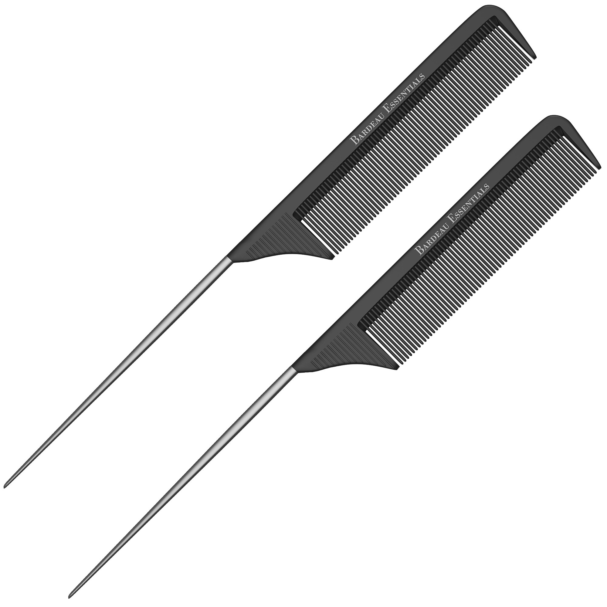 Professional 8.8 Inch Tail Comb (2 Pack) - Black Carbon Fiber And Stainless Steel Pintail - Chemical And Heat Resistant Teasing Comb - Lightweight Rat Tail Comb For All Hair Types (2 Pack)