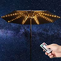 Patio Umbrella String Lights, 104 Bright LEDs 8 Mode Battery Operated Cordless Umbrella Light, Remote Control Waterproof Outdoor Pole Lights for Patio Umbrellas Camping Tents