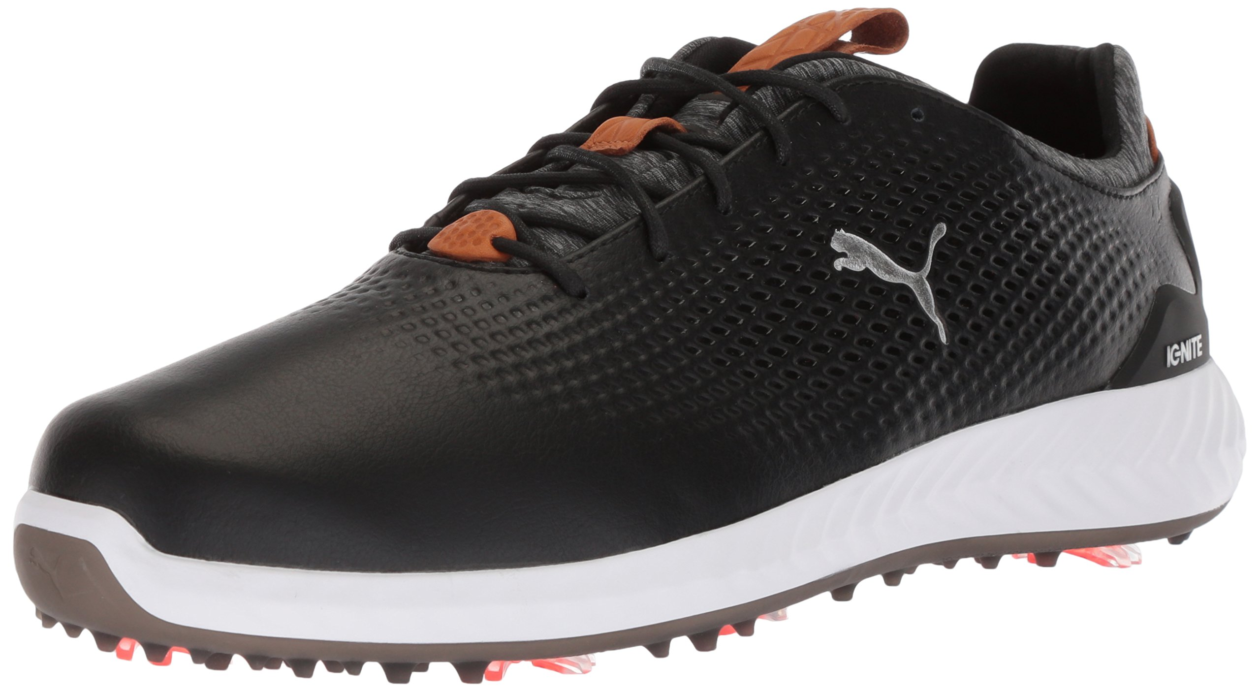PUMA Golf Men's Ignite Pwradapt Leather Golf Shoe, Black/Black, 11 Medium US