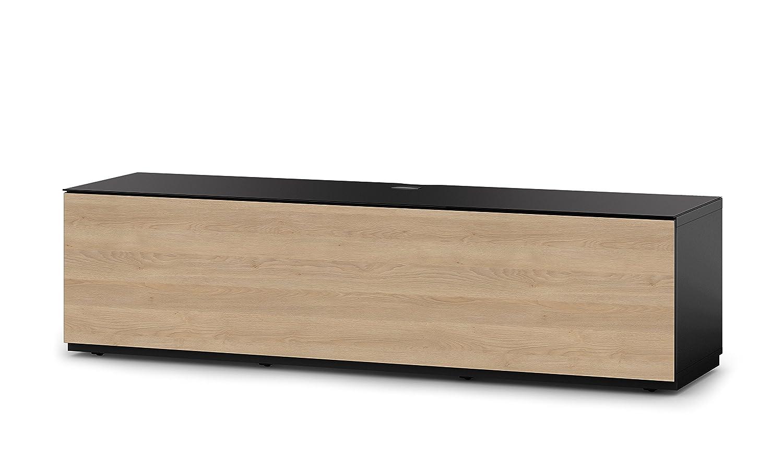 Sonorous STA 160F-BLK-OAK-BW hängende TV-Lowboard mit Sockel, schwarzer Korpus, obere Fläche, gehärtetem Schwarzglas und Klapptür in Holzdekor Eiche