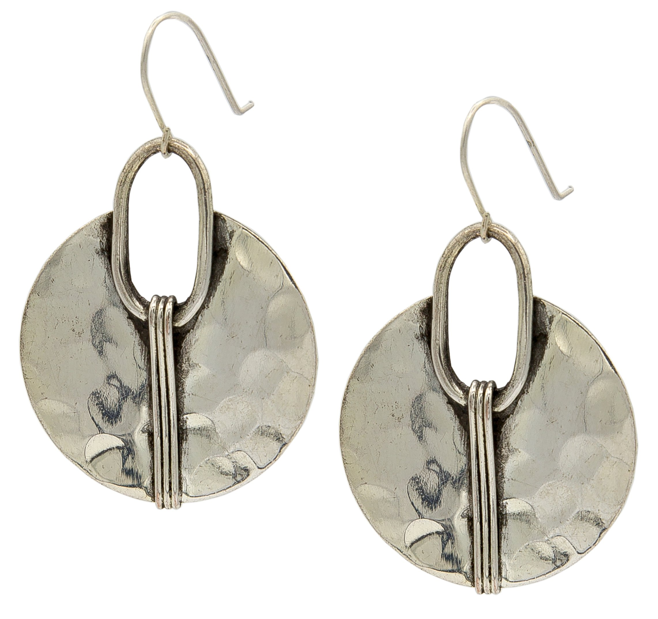 Silver Cresent Earring Hammered Ethnic | SPUNKYsoul Collection