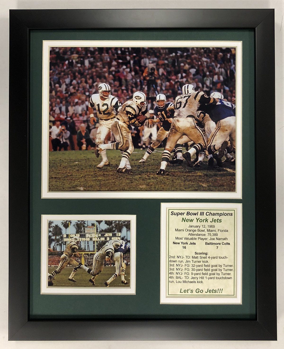 Legends Never Die NFL 1968 New York Jets Super Bowl III Champions Framed Double Matted Photos, 12' x 15'