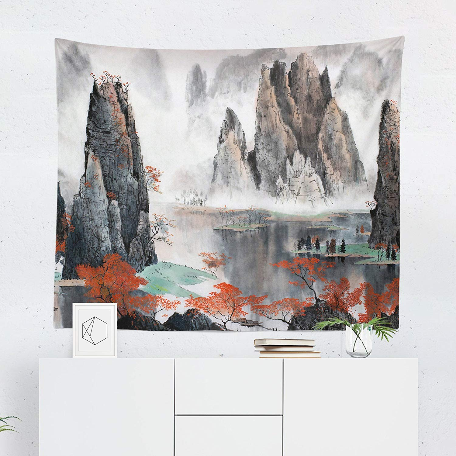 Small to Giant Sizes Asian Tapestry Wall Hanging Lake Oriental Chinese Japanese Tapestries Dorm Room Bedroom Decor Art Printed in the USA