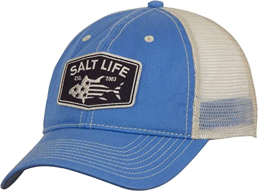 752617cfd5277 Amazon.com  Salt Life Men s Red White and Bluefin Trucker Hat (One ...