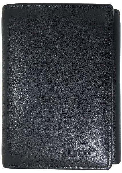 8baa3cef9cd54 AurDo Men s RFID Blocking Extra Capacity Multi Card Trifold Wallet With ID  Window (Black)