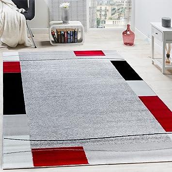 Paco Home Designer Teppich Wohnzimmer Kurzflor Modern Elegant Bordüre In Grau  Schwarz Rot, Grösse: