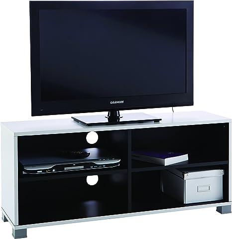 Demeyere #218 Grafit - Mueble para televisor (con baldas Inferiores), Color Blanco y Negro: Amazon.es: Hogar