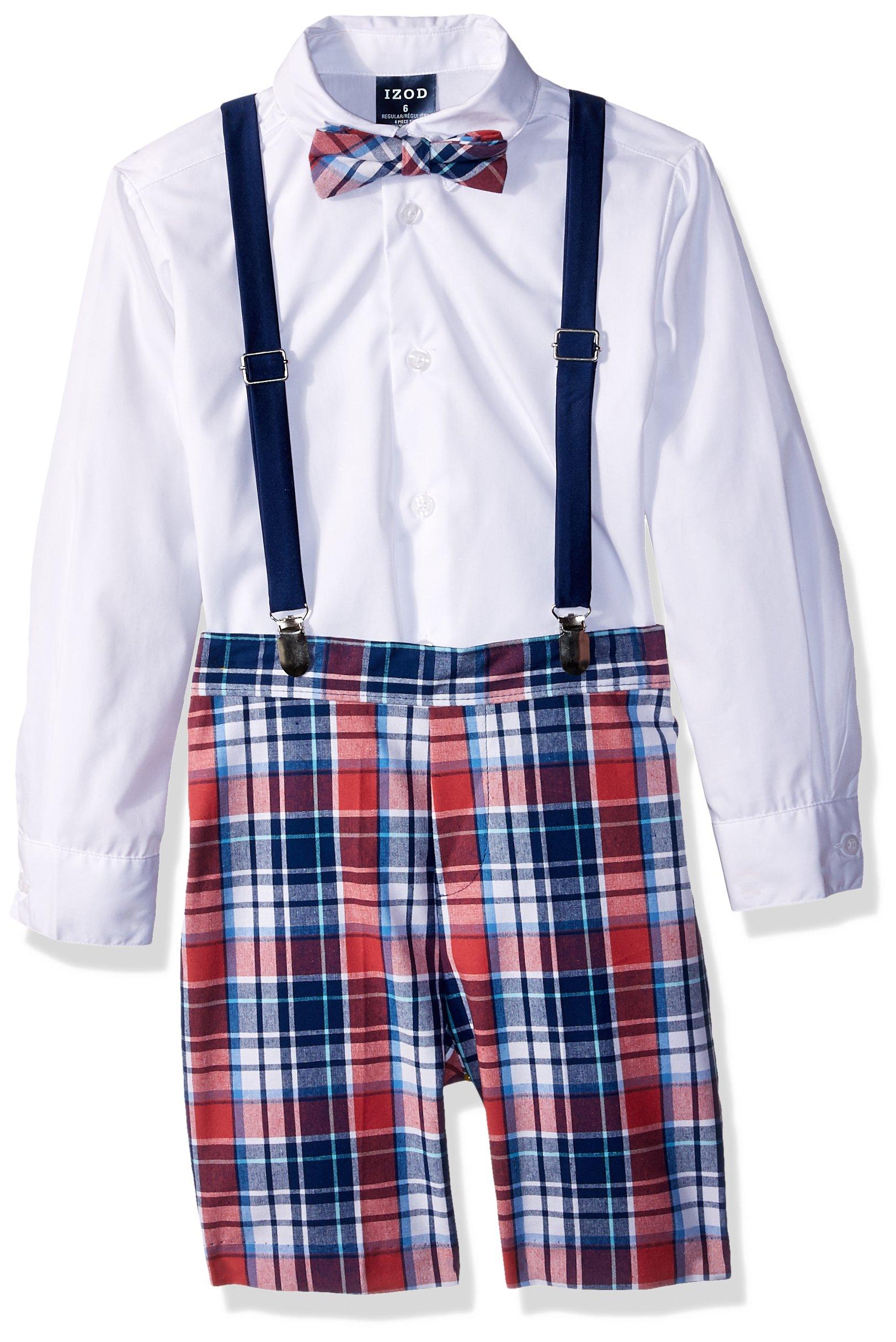 IZOD Little Boys' Four Piece Formal Suspender Set, Bubble Gum Plaid, 6