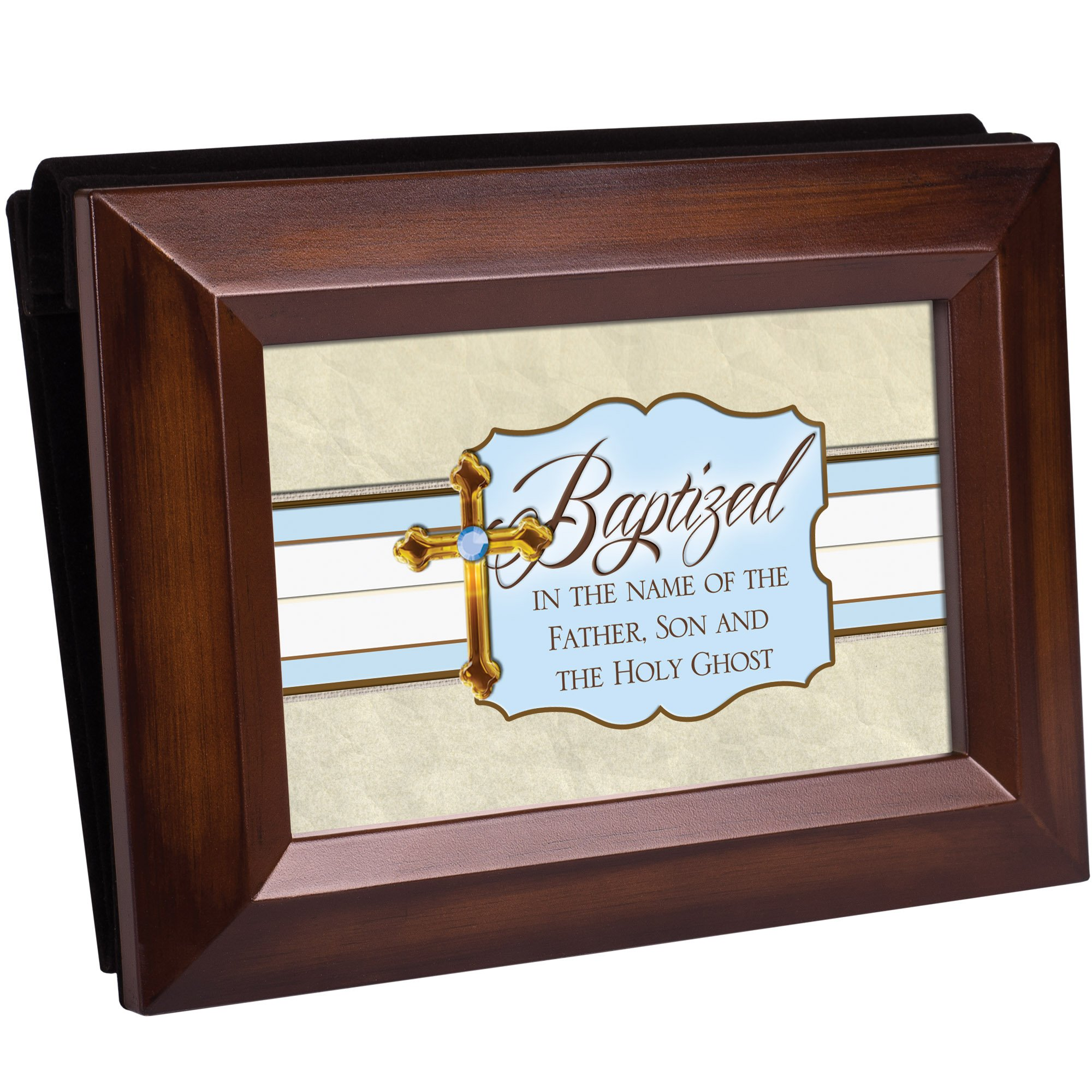 Baptized in the Name of the Father, Son & Holy Ghost Wood Finish 4x6 Photo Album with Easel Back - Holds 50 Photos Acid Free
