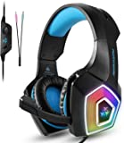 TENSWALL PS4 Gaming Headset, Hunterspider Series, LED Light Wired PC Gaming Headphone with Mic, 3.5mm Heasdset Jack Over-Ear Headset Headband Bass Stereo and Noise Cancelling & Volume Control For Universal Compatibility like Xbox One, Nintendo Switch, PC, Laptop, Tablet, Mobile,etc.(Blue)