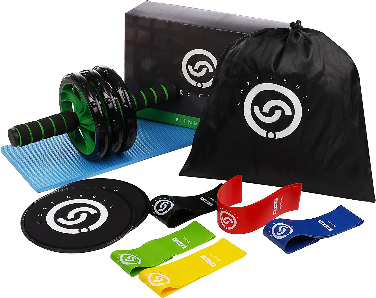 Core Crush Exercise Equipment Fitness Kit – 5 Resistance Bands, 2 Core Disc Sliders, Ab Roller Wheel, Knee Pad Carry Bag