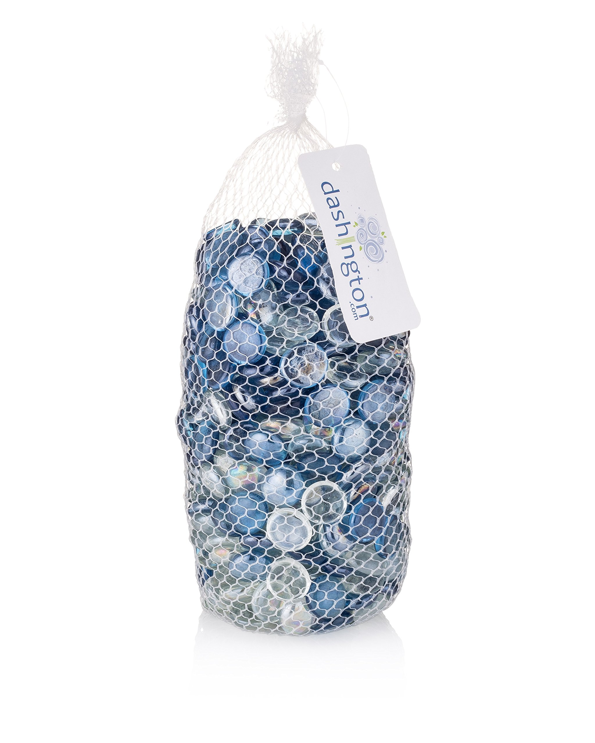 Dashington Flat Blue/Clear Marbles, Pebbles (5 Pound Bag/80oz) for Vase Filler, Table Scatter, Aquarium Decor, Gems